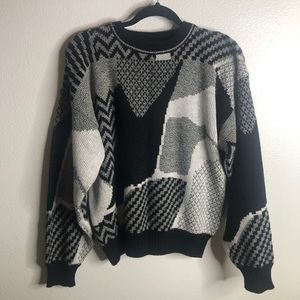 Vintage Black White and Gray Sweater
